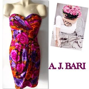 A. J. Bari silk ruched floral dress  8